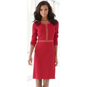 Misook Red Golden Studded Dress Neiman Marcus 0X